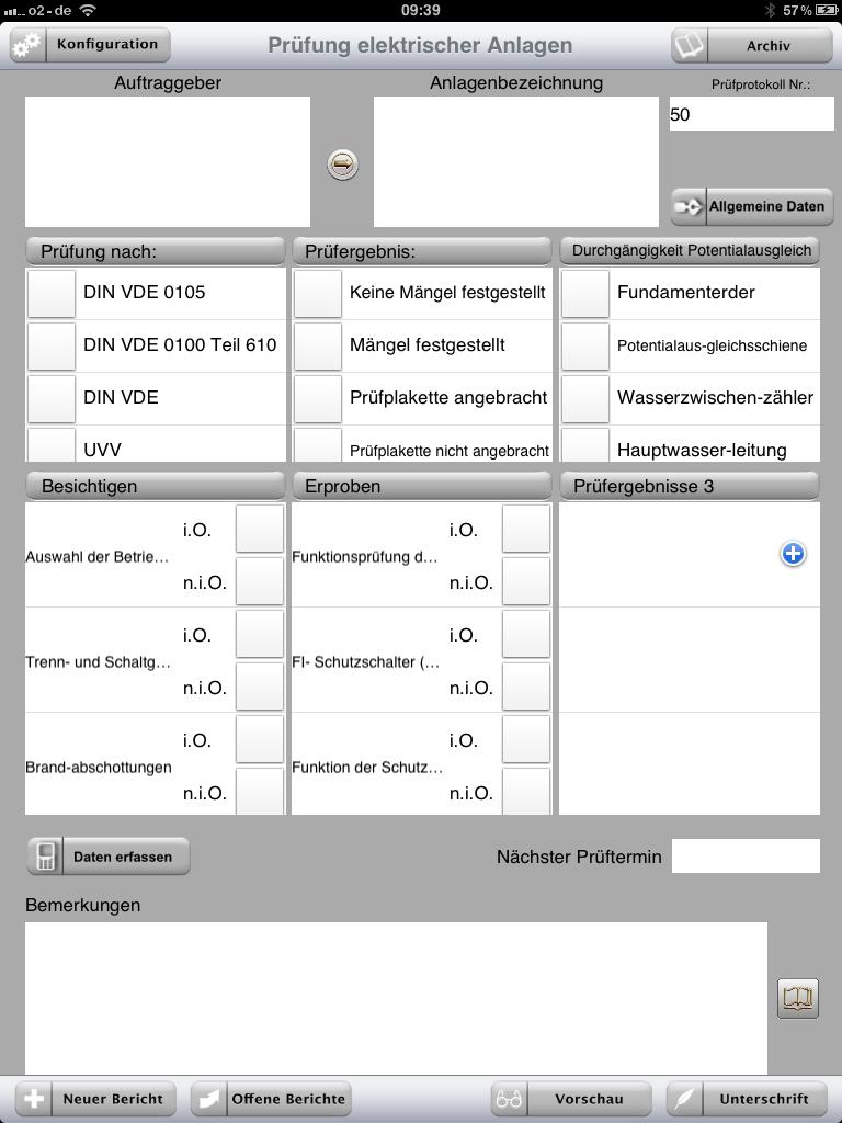 startansicht - Prufung Elektrischer Anlagen Prufprotokoll Muster